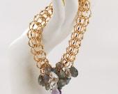 Vintage 12K GF Bracelet with white topaz, labradorites, pearls and amethyst