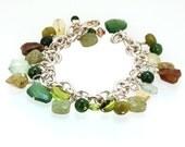 Jade, Citrine, Prehnite, Vesonite Sterling charm Bracelet