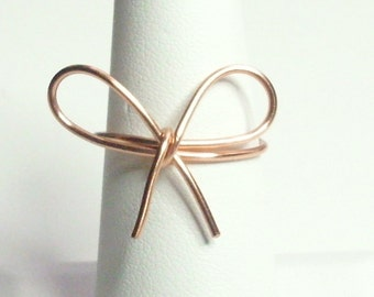 Bow Ring Copper Rose Gold Silver Antique Bronze Gold Merlins Handmade Wire Wrapped Ring