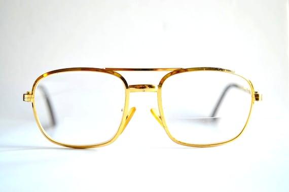 70s gold eye glasses metal frames