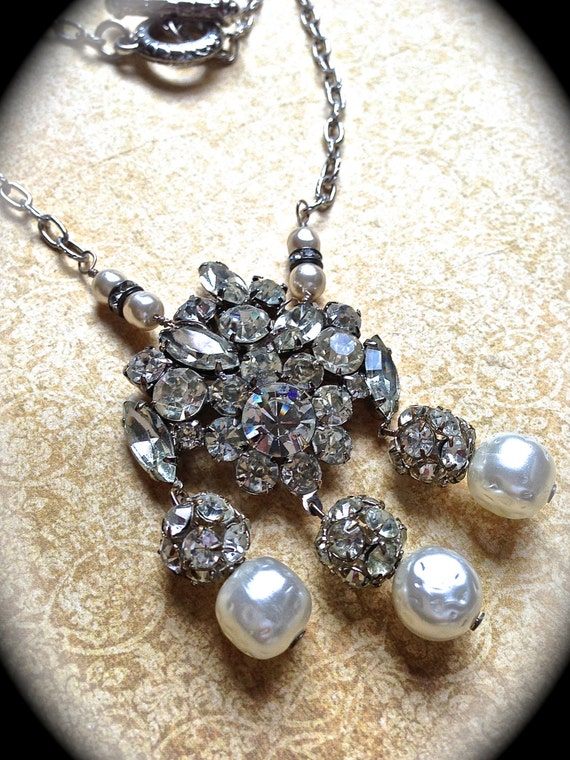 Sale   Clear Crystal/Pearl Necklace-Pearl necklace- Wedding Necklace- Statement Necklace- Rhinestone Necklace- Handmade Jewelry