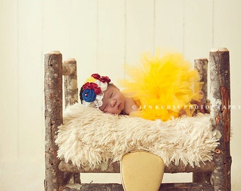 Mirror, Mirror- red, yellow and blue Snow White inspired rosette and ruffle flower headband