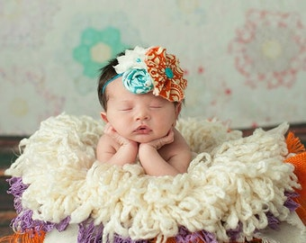 Aqua and Orange Dreams- orange and teal chiffon flower, ruffle and rosette headband