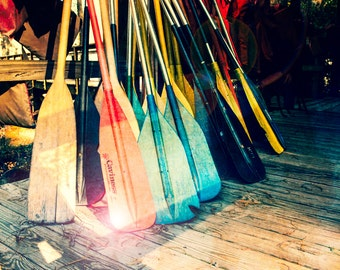 Photo, Canoe Paddles, Summertime, Canoing, Camp Art, Lake Pier, Childrens Art, Wall Decor, 8x10 Print, Lakehouse Decor, Fine Art Photography