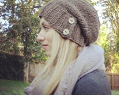 Knit Slouch Hat >> Pine Marten Slouch Hat >> Knit with 100% Wool >> Women's Slouch Beanie >> Button Tab >> Stylish and Trendy