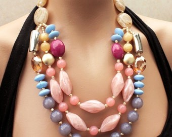 Bold, Colorful, Pastel Statement Necklace, Bib Necklace, Pink, Coral, Blue, Gold, Anthropologie, Figli, Solar Sundries
