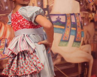Carousel Girl PDF pattern - Ellie Inspired Ruffle Bustle Dress Pattern for Girls and matching Doll Size 1 - Size 12