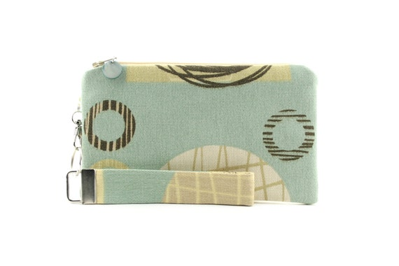 Aqua blue clutch purse in modern fabric with circle pattern - OOAK bag