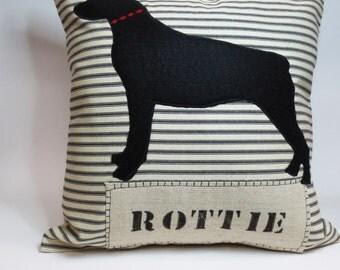 Rottweiler Silhouette Pillow - Rottie Rottweiler Decorative Pillow - Rott Pillow - Decorative Black Accent Throw Pillow Cushion