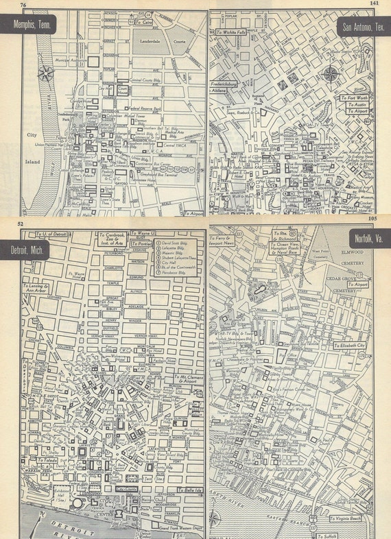Vintage Maps, Cities, Black and White, 1950s, Great Cities of the World, 11 clippings for collage, scrapbooking or to frame