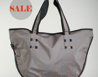 WATERPROOF SHOULDER BAG, blue with small flowers pvc tote, large vegan beach bag for women- Gigi - On Sale 30% (Regular price 89 usd)