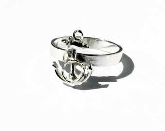 Nautical jewelry, Sterling silver anchor ring silver stacking ring rope ring sterling silver ring