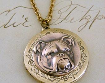 Locket Necklace - Bulldog Dog - Vintage Brass - Handmade