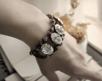 Copper Swarovski Bracelet - Cuff - Art Deco - Glamor - Unique - Winter Wedding - Bridal - Holidays - December - Christmas