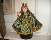 Divine Infant of Prague Religious Santo Nino Wood Carved Catholic Devotional Figure w/Glass Eyes/Vestments ,Crown Folk art