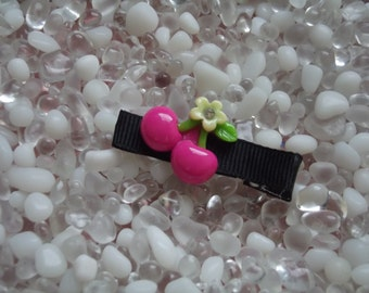 Hot Pink Cherries Hair Clip - No Slip Grip - Baby - Toddler - Girl - Teen - Adult Hair Clip