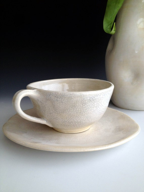 Ready to ship! Handmade stoneware, white crackle tea cup and saucer set by Leslie Freeman