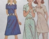Vintage Mccalls 3101 Easy Sewing Pattern -- 70s Dress Tunic Pants Pounds Slimmer Sewing Pattern -- Bust 34 Small