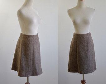 Vintage A Line Skirt, 70s Skirt, Herringbone Skirt, Flared Skirt, 1970s Skirt, Preppy Skirt, Officewear, Mid Thigh Skirt, Waist 25 26 Small