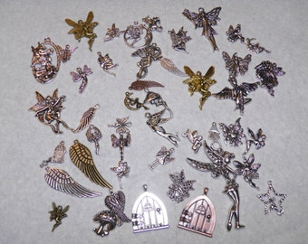 Fairy Charms, Huge 45pc Fairy Charm Lot, Fairy Jewelry, Tinkerbell Wings, Fairy Wish Door, Silver Copper Bronze Charms for Earrings Bracelet