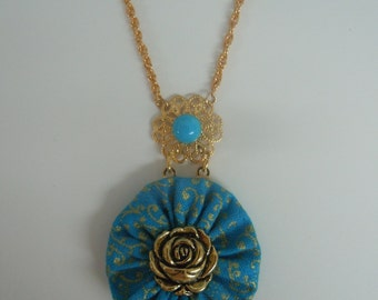 Turquoise Fabric and Rose Button Filigree Pendant Necklace