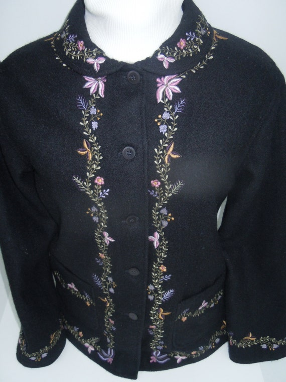 SALE - Wool Embroidered Ladies Black Jacket With Round Collar