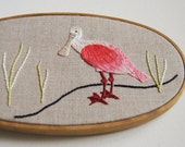 Roseate Spoonbill Hand Embroidery - Tropical Pink Bird Embroidery Hoop Art