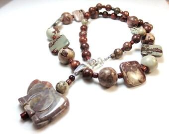 Stone Rhino Necklace, Brown Jasper Necklace, Fancy Jasper Rhinoceros Pendant, Statement Necklace, Brown & Green Mookaite Beads, OOAK