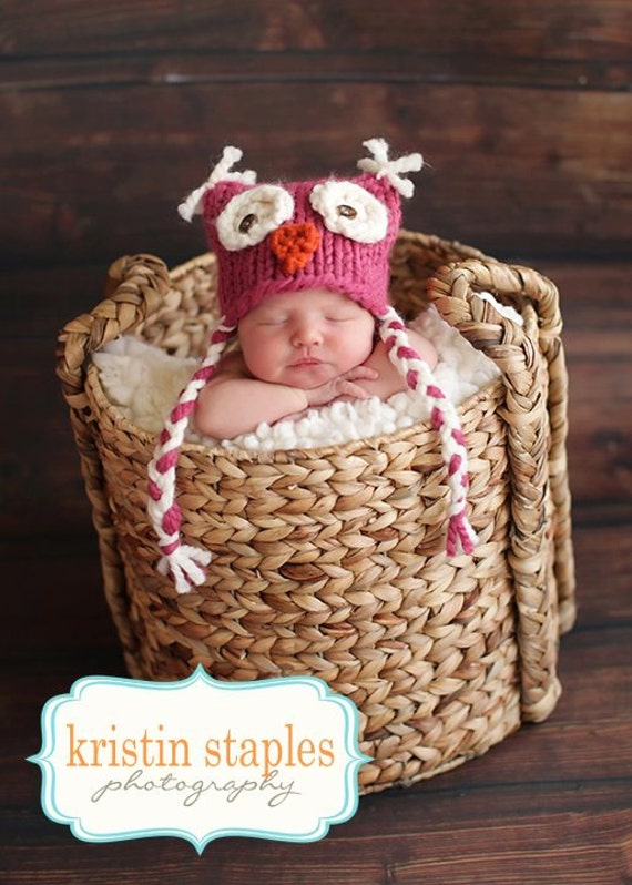 Little Knit Owl Hat for Baby Girl in Bright Pink, Ready to Ship