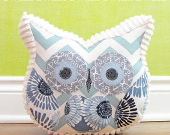 Home Decor Owl Pillow - Stuffed owl - Blue Chrevon and Cream Chenille