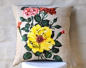 CARNATIONS & ROSES Vintage Irish  Linen Tea Towel Cushion Cover Upcycled Repurposed Spring Flowers Pillow Cushion