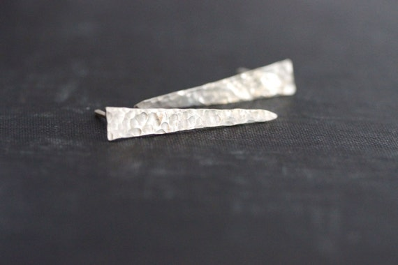 Long Sterling Silver Triangle Posts - Hammered