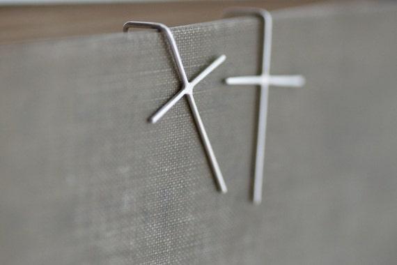 Cross Wire Earrings - Sterling Silver - Hook