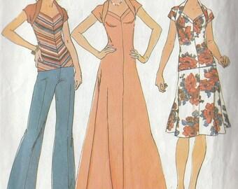 Vintage Sewing Pattern Stretch Wrap Collar Dress Skirt Top 1975 Sweetheart Neckline