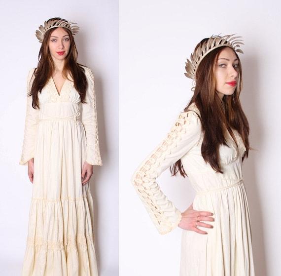 Gunne Sax / Crochet / wedding dress / Renaissance / Dress / Shakespearian / Linen / Buttercream  / Long Dress / Boho Wedding Dress /   0944