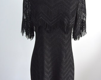 Vintage GREAT GATSY DAMIANOU Flapper Dress In Black Lace Fringe/Black Sequins Thread Free Shipping us