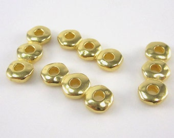 20 Gold 7mm Nugget 3 Hole Spacer Bar - TierraCast Leather Findings