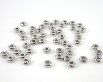 50 Tierracast Rhodium 4mm Disk Spacers
