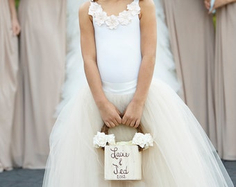 flower girl top, sleeveless leotard with hydrangea flowers, off-white top with champagne flowers