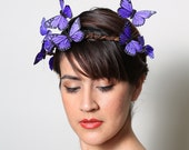 Purple Butterfly Crown - wedding, bride, fantasy, woodland