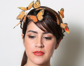 Orange Monarch Butterfly Crown - wedding, bride, fantasy, woodland