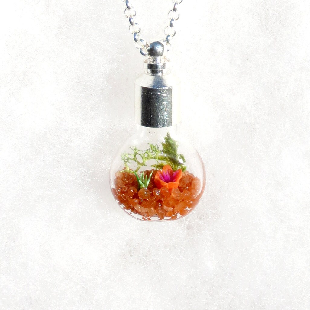 ecosystem necklace terrarium pendant necklace flower by