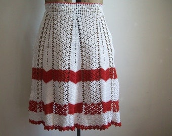 Vintage crocheted apron red and white Free shipping to USA