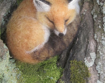Made to order needle felted sleeping red fox, woodland animal
