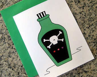 poison toxic love notecards / thank you notes / love notes / valentines (blank or custom printed inside) with green envelopes - set of 10