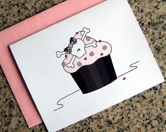 skull cupcake notecards / thank you notes / valentines (blank or custom printed inside) with pink envelopes - set of 10