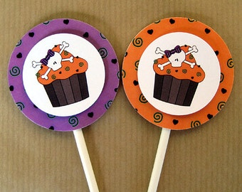 skull cupcake costume birthday party purple orange halloween colors cupcake cake toppers decorations personalized - set of 12