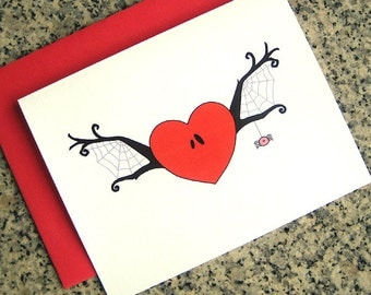 spider web winged heart notecards / thank you notes / love notes / valentines (blank or custom inside) with red envelopes - set of 10