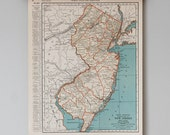 1930s Antique State Maps of New Jersey and New Hampshire