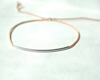 Pink thread Bracelet with Sterling Silver tube - adjustable
